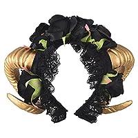 Handmade Demon Horns Headband Adult Unisex Black Rose Headpieces Fancy Dress Costume Accessory Steampunk Horn Head Band Goth Xiaolanwelc (Headband)