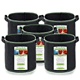 Grow Bags - 5 Pack 30 Gallon - Thickened and Reinforced Non-Woven Fabric Potato Grow Bags - Ideal as Tomato Grow Bags & for Other Plants, Vegetables & Fruits for Gardens