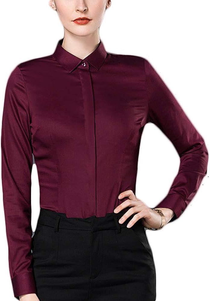 Fiyomet Camisas para Mujer Camisa de Fibra de Bambú Blusa Traje de la Mujer Camisa Rojo Rojo Vino 55: Amazon.es: Ropa y accesorios