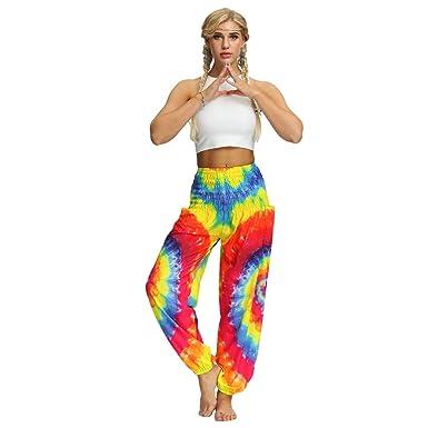 Yoga De Boho Alta Mujer Pantalones Impreso Cintura Haobing Suelto 2E9YeDHIWb