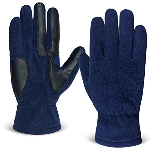 LETHMIK Mens Warm Winter Fleece Gloves with 3 Touchscreen Fingers Texting Leather