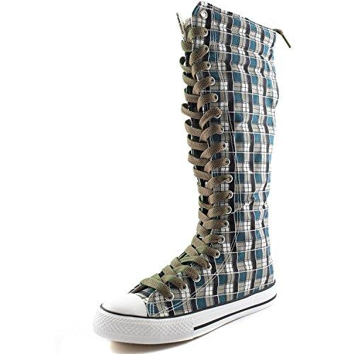 Dailyshoes Tela Donna Stivali Alti Metà Polpaccio Casual Sneaker Punk Flat, Stivali Scozzesi Blu Wht, Pizzo Taupe