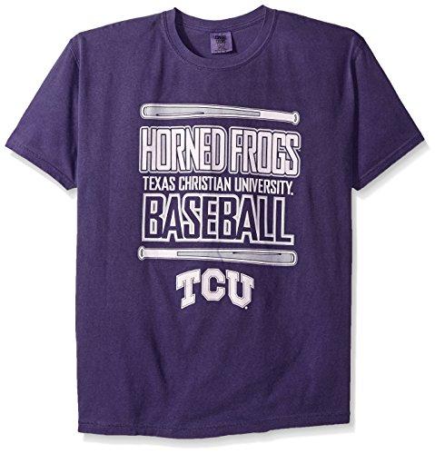 NCAA Tcu Horned Frogs Baseball Bats Short Sleeve Comfort Color T-Shirt, Large,Grape