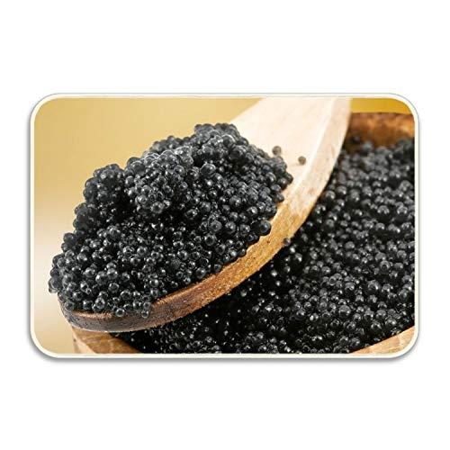 Bath Caviar - Caviar Black Spoon Bath Mat Art Doormat Outdoor Indoor Rubber Door Mats Thin Non Slip Carpets for Front Door Kitchen Bedroom Garden 20x32 inch