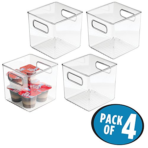 mDesign Kitchen Pantry and Cabinet Storage and Organization Bin, 6' x 6' x 6' - Pack of 4, Clear