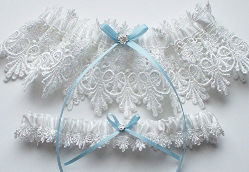 Handmade Wedding Garter - Wedding Garter Set in White Lace with Blue Satin Ribbon Bow and Swarovski Crystal Centering - The ALICIA Garter Set