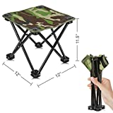 Mini Portable Folding Stool,Folding Camping Stool,Outdoor Folding Chair Slacker Chair for BBQ,Camping,Fishing,Travel,Hiking,Garden,Beach,600D Oxford Cloth with Carry Bag 12'x12'x11.5'( Camouflage-2)