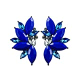 Colorful Punk Rock Spiky Oversized Candy Rhinestone Studded Cluster Women Stud Earrings in Shades of Rainbow - Purple, Green, Blue, Pink, Yellow, Red, and Many More! (Electric Blue)