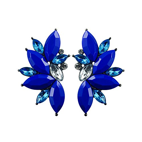 Electric Blue Sparkle - Colorful Punk Rock Spiky Oversized Candy Rhinestone Studded Cluster Women Stud Earrings in Shades of Rainbow - Purple, Green, Blue, Pink, Yellow, Red, and Many More! (Electric Blue)