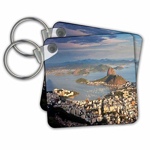 "3dRose View Over Sugarloaf Mountain in Guanabara Bay, Rio De Janeiro - Key Chains, 2.25"" x 2.25"", Set of 2 (kc_228639_1)"