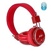 Auriculares inalámbricos Bluetooth, auriculares para niños, sobre la oreja plegable, juego de tarjeta TF, radio FM, entrada de audio con micrófono para Iphone Android y buenas opciones de regalo, en el oído rojo