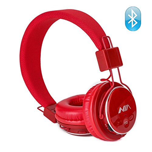 Wireless Bluetooth Headphones, Kids Headphones, Over Ear Foldable, TF card play, FM radio, Audio Input with Microphone for Iphone Android and Good Choices for Gift, On Ear Red