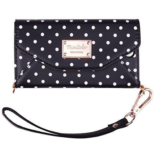 iPhone 7 Plus Wallet Case, True Color Premium Tri-Fold Leatherette Polka Dots...