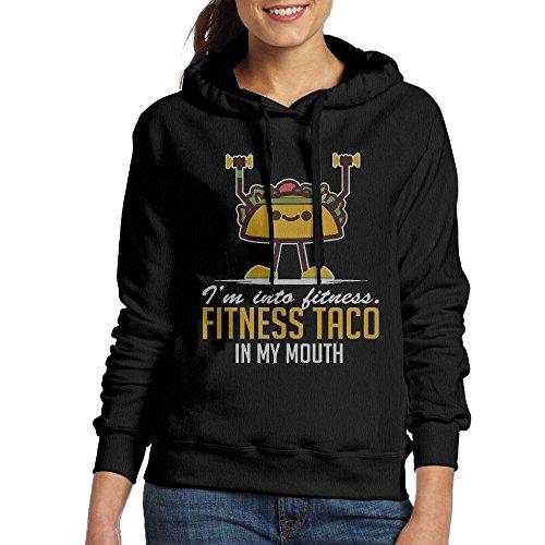 Femmes Je Suis Dans La Forme Physique Taco Dans Mon Sweat À Capuche Bouche Sweat-shirt Cool Poche Kangourou Noir