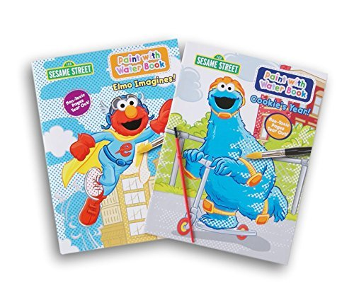 (Sesame Street Elmo Imagines and Cookie's Year Paint with Water Book Bundle - 2 Books and 1 Paint Brush)