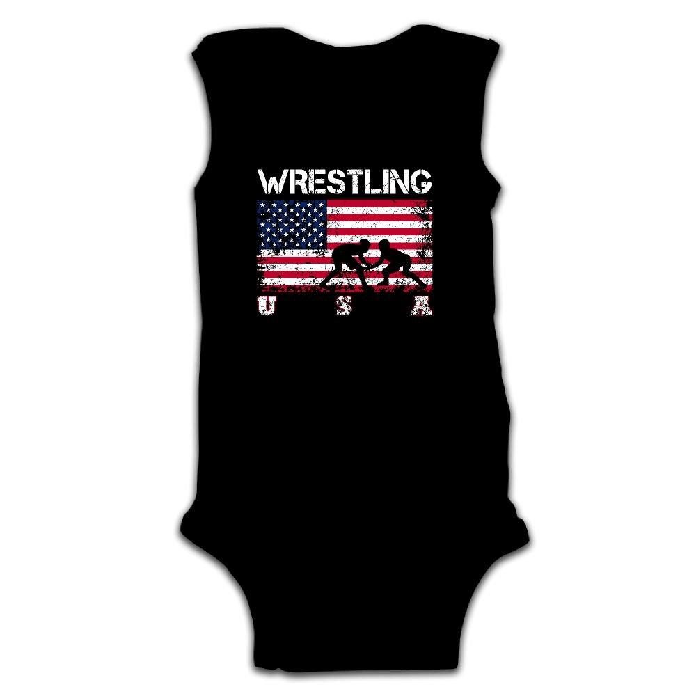 Hvaalri Nsef Wrestling American Flag Baby Sleeveless Jumpsuit Cute Baby's Climb Crawling by Hvaalri Nsef