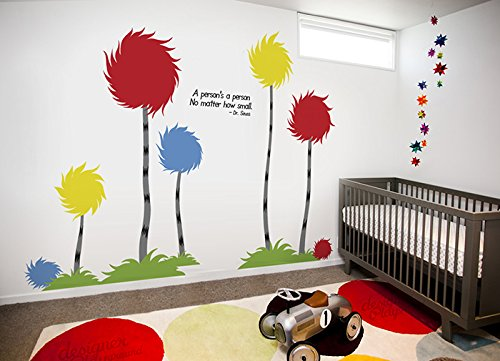 "Designer Playground Dr Seuss Inspired Trufulla Tree With Cotton Puff And A person's quote Vinyl Wall Decal (126""W X 81""H) K141 Red Yellow Blue by DESIGNER PLAYGROUND (Image #4)"