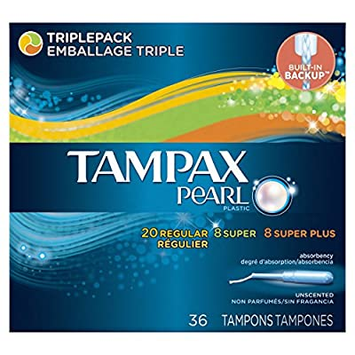 Tampax Pearl Plastic Tampons, Triplepack, Unscented, 36 Count