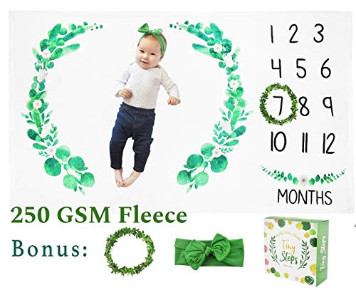 Tiny Steps - Monthly Baby Milestone Blanket Thick Fleece (60 x 40 Inch) Leaf Wreath Marker, Cute Headband Included | Photo Backdrop Customized Memory w Stickers for Newborn Boy Girl Twin Baby Registry (Safety Crown Track)