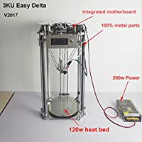 3KU Updated Metal Structure Delta 3D Printer one key leveling and support laser module free PLA and heat bed