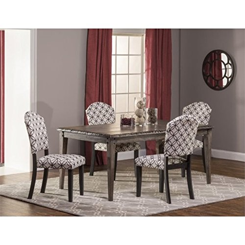 Bowery Hill 5 Piece Dining Set in Washed Charcoal Gray