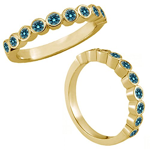 0.25 Carat Blue Diamond Bezel Bubble Design Engagement Wedding Bridal Women Band 14K Yellow Gold