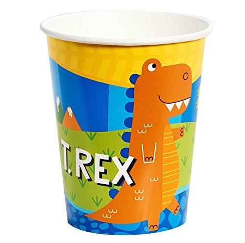 Barney 9 Oz Cups (T-Rex Dinosaur Party Supplies - 9 oz. Paper Cups (8))