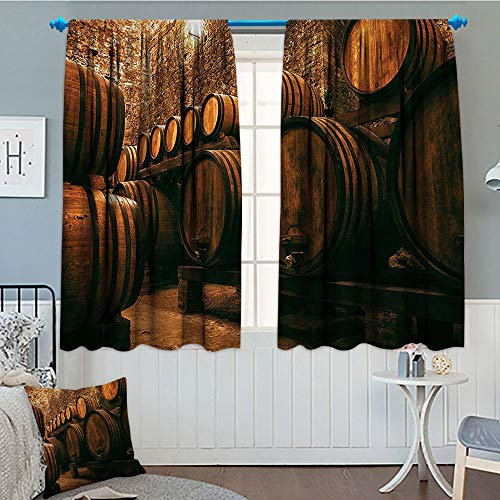 (Winery Decor Collection, Thermal/Room Darkening Window Curtains, Barrels for Storage of Wine Italy Oak Container in Cold Dark Underground Cellar, Customized Curtains, 72x63 Inch Sienna Peru Brown)
