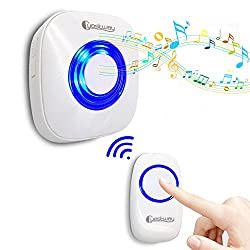 Portable Wireless Doorbell Ring for Heavy Sleepers Kids Morning Call Alarm Clock Pager Hearing Impaired Home Doorchime 1000ft Long Range Distance 52 Chord Music White