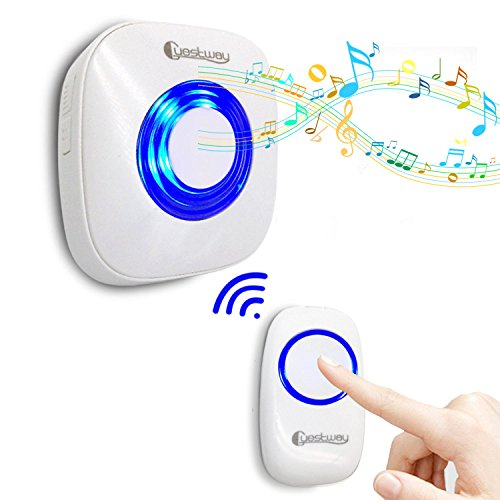 orbell Ring for Heavy Sleepers Kids Morning Call Alarm Clock Pager Hearing Impaired Home Doorchime 1000ft Long Range Distance 52 Chord Music White (Heavy Call)