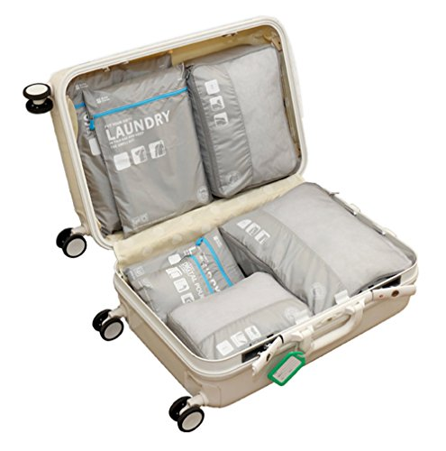 7 Set Packing Cubes Luggage Travel Organizer with Laundry Bag and Shoes Bag
