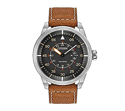 Citizen Eco-Drive Men's Stainless Steel Watch with Brown Leather Strap