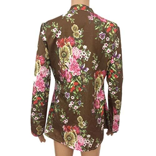 Stampa A Donna Home Lunghe Taglie Vintage Top Maniche Scollo shirt Camicia V Moda T Camicetta Tunica Autunno Fiori Floreale fp8qvwtAW5
