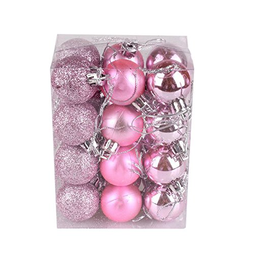 ZYEE 30mm Christmas Xmas Tree Ball Bauble Hanging Home Party Ornament Decor (24PC, Pink) -