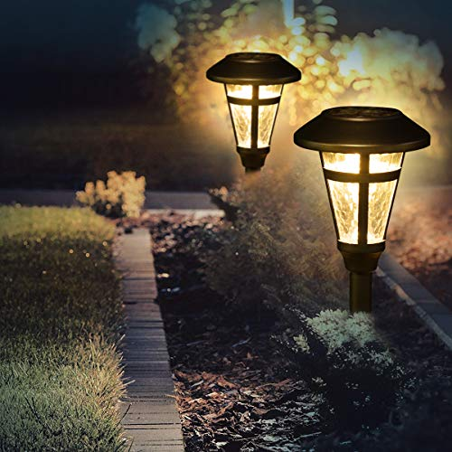 GIGALUMI 6 Pcs Solar Lights Outdoor, Bronze Finshed, Glass Lamp, Waterproof Led Solar Lights for Lawn, Patio, Yard, Garden, Pathway, Walkway and Driveway (Solar Lights Walkway Reviews)