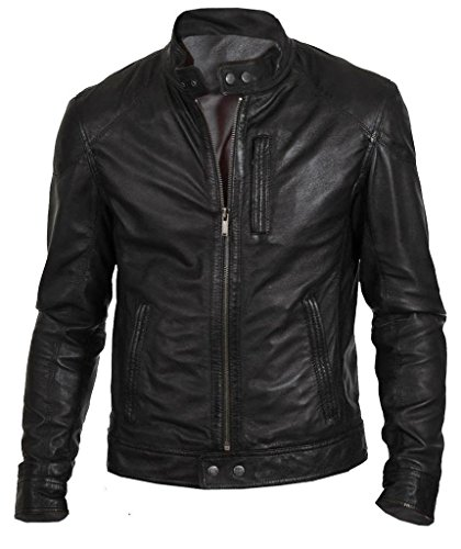 Western Leather Men's Motorcycle Leather Jacket Medium Black