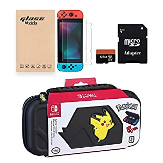 Nintendo Switch Official Licensed Pokémon Carrying Case with Mytrix Tempered Glass Screen Protector 2-Pack, 128GB Micro SD Card and Adapter - Switch Complete Accessories Bundle - Console Not Included