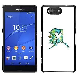 [Neutron-Star] Snap-on Series Teléfono Carcasa Funda Case Caso para Sony Xperia Z4v / Sony Xperia Z4 / E6508 [Heart Spring Minimalist Teal Mint White]
