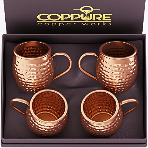 COPPure Moscow Mule Copper Mugs Set of 4 - Pure 100% Solid Hammered, Unlined Copper Cups For Icy Cold Cocktails - Recipes Included - Makes A Perfect Gift
