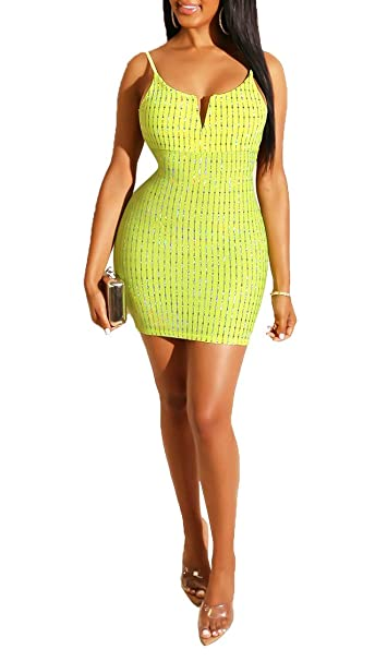 d26aafb9933e Blansdi Women Glitter Spaghetti Strap Mini Dress Sleeveless Backless  Bodycon Sexy Club Party Short Dresses at Amazon Women's Clothing store: