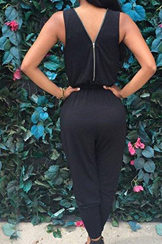 Tuta Estiva Nero Backless Tutine Monopezzi V Cocktail Zip Elegante Overall Fashion con Donna Tute Maniche Cerimonia Moda Lunghi Jumpsuit Pantaloni Scollo Neri Senza Battercake dwIqgCx7d