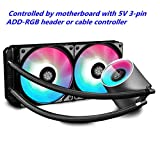 DEEPCOOL Castle 240 RGB 240mm All-in-One Liquid CPU Cooler with Addressable RGB Waterblock and Fans, Cable and Motherboard Control Supported, TR4 and AM4 Compatible, 3-Year Warranty, Black