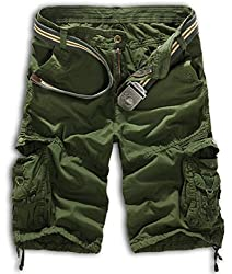 XueYin Men's Cargo Shorts Military-Style Casual Wear, Army Green, US: 29 size(Label 31)