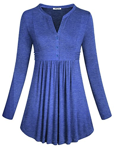 SeSe Code Shirts for Women,Work Casual Clothing Winter Beauty Full Sleeve A-Line Tunic Henley Vneck Buttons Basic Stretchy Pleats Slim Fit Shirt Blue Small