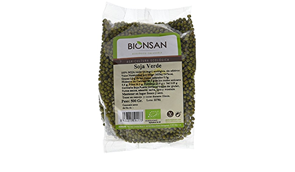 Bionsan Soja Verde Ecológica | Soja Mungo | Natural | 6 Bolsas de 500gr | Total 3000gr