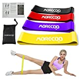 Resistance Loop Exercise Bands Home Gym Fitness Workout Elastic Bands for Physical Therapy, Pilates, Yoga, Strength Training Legs, Glutes Resistance Bands, Set of 4 ,with Guiding Book Handy Carry Bag