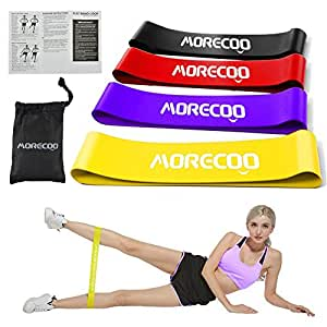 Resistance Bands Exercise Loops Set Gym Home Fitness Workout Latex Ring Yoga Sport Shaped Rally Bands Strength Training Legs Glutes Physical Therapy Pilates Rehab set of 4 Guide Book in Carry Bag