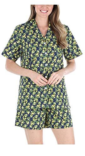 Sleepyheads Women's Sleepwear Cotton Short Sleeve Button-Up Top and Shorts Pajama Set (SHCP1710-5030-XS) Lemons