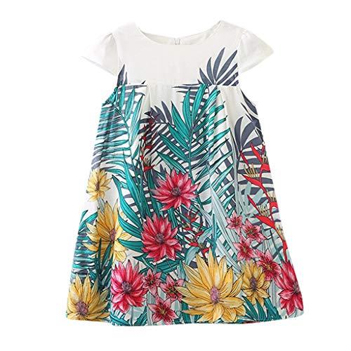 Mysky Fashion Summer Children Kids Girls Sweet Floral Print Sleeveless Dance Party Princess Dress White