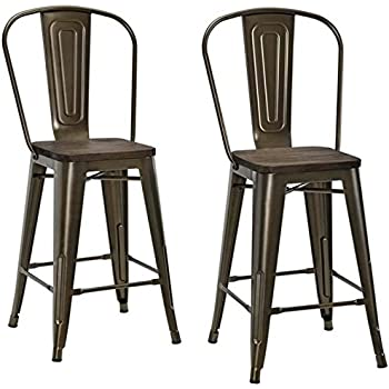 Amazon Com Pemberly Row 24 Quot Metal Counter Stool In Antique Bronze Set Of 2 Kitchen